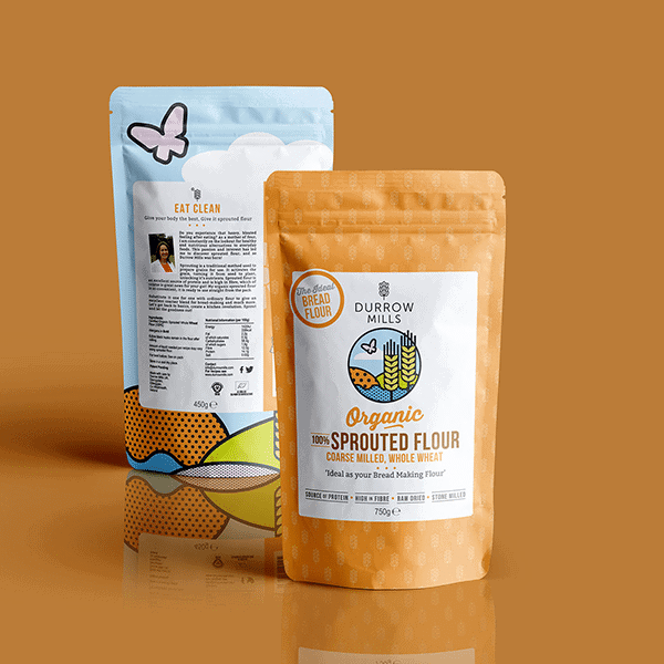 Product mockup of front and back packaging design for our client Durrow Mills Coarse Sprouted Flour 750g resealable pouches.