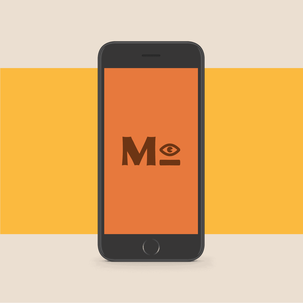 Momentooh submark on a mobile mockup with mustard yellow background.