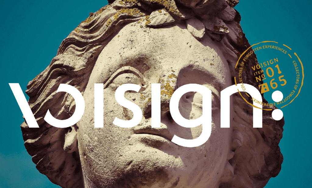 Close up image of Voisign primary logo and archive stamp design overlaid on a background image of a statue's face.