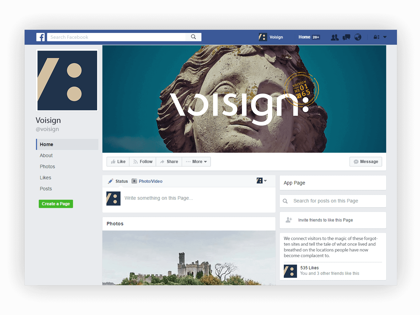 Mockup graphic of Voisign new brand identity applied to the Facebook cover image and profile image.