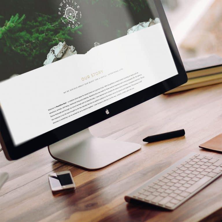 Desktop computer showcasing a Studio Stratos web site design